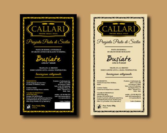Etichette Pasta Callari: semola di grano duro integrale e Tumminia